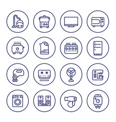 appliances and consumer electronics line icons vector image