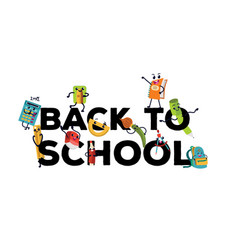 Back to school flat banner template with vector