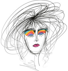 Beautful woman sketch with messy hair vector