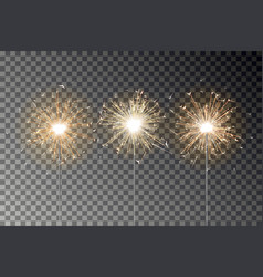 Bengal fire sparkle set new year sparkler vector