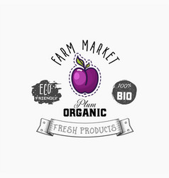 bio sticker and eco products plum web element vector image