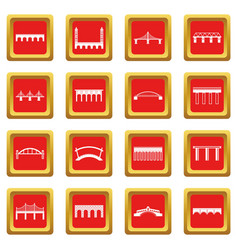 Bridge set icons set red vector