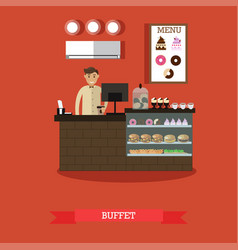buffet concept in flat style vector image