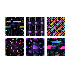 Bundle of retro futuristic seamless pattern with vector