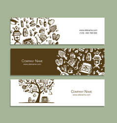 business cards with bathhouse design elements vector image
