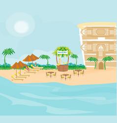 Cafe on tropical beach vector