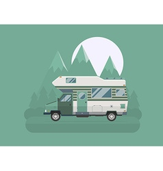 Camper traveler truck on national mountain park vector
