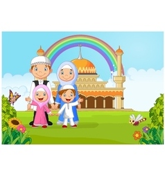 Cartoon happy Muslim family with rainbow vector