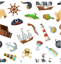 Cartoon sea pirates pattern or background vector