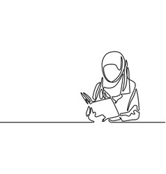Continuous line muslim woman student read a book vector
