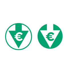 Cost price euro decrease exchange index icon vector