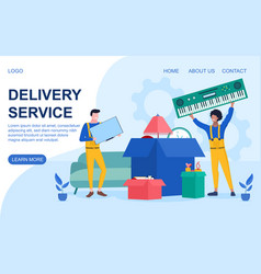 Delivery service concept with workmen and cartons vector