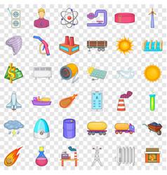 Energy icons set cartoon style vector