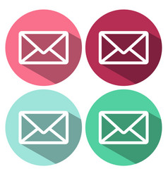 envelope mail icon in flat style with long shadow vector image