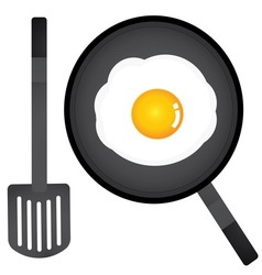 fried egg in a pan and spatula vector image