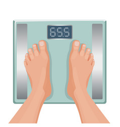 Gain weight concept fat female foot on scale vector