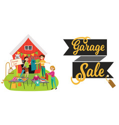 garage sale young beautiful women at the weekly vector image