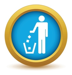 Gold throw garbage icon vector image