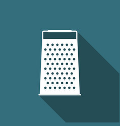 grater icon with long shadow kitchen symbol vector image