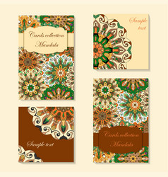 Greeting card design with mandala pattern vector