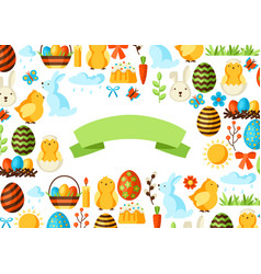 Happy easter greeting card with holiday items vector