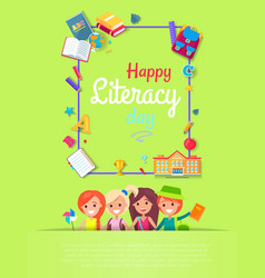 Happy literacy day postcard vector