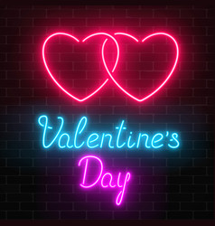 Happy valentines day neon glowing festive sign on vector