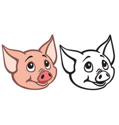 Head of cartoon piglet vector
