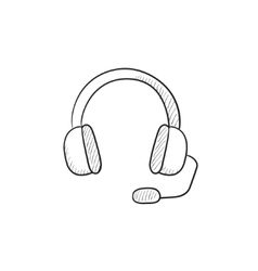 Headphone with microphone sketch icon vector image