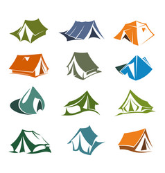 Hiking and camping tents icons vector