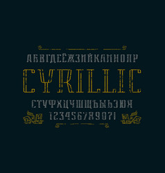 Hollow serif font and ornament vector