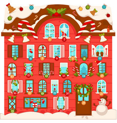 Huge christmas house with lot of large numbered vector