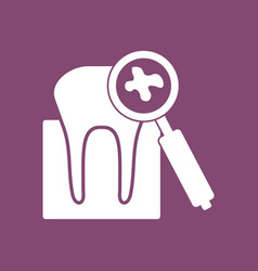 Icon tooth with magnifying glass vector