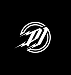 initial letter p j logo template with thunder bolt vector image