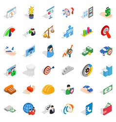 Inspire idea icons set isometric style vector