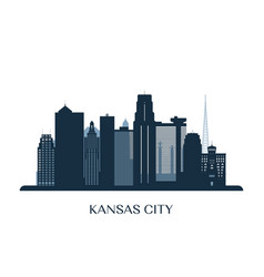 kansas city skyline monochrome silhouette vector image