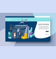 Key to success online web page template briefcase vector