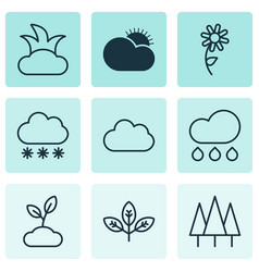Landscape icons set includes icons such as sprout vector