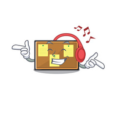 Listening music bulletin board isolated in the vector