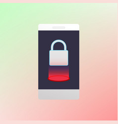 locked smartphone luminous padlock vector image