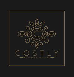 Luxurious letter c logo with classic line art vector