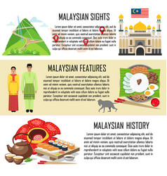 malaysia banner set with malasian sights features vector image