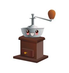 Manual coffee grinder kawaii cartoon vector