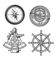 marine navigation compass ship helm and sextant vector image