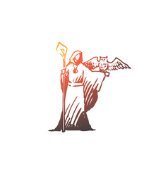 medium magician wizard owl costume concept vector image