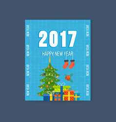 merry christmas happy new year greetings card vector image