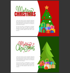 Merry christmas holidays postcards evergreen tree vector