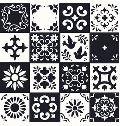 Mexican talavera pattern ceramic tiles with vector