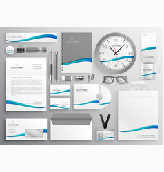 Modern clean business stationery set design vector