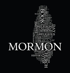 mormon church genealogy text background word vector image
